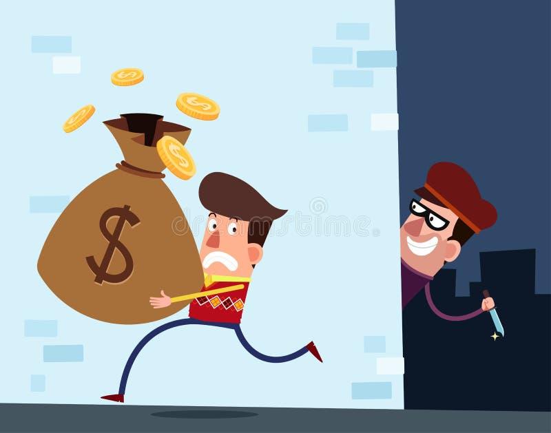 Hombre rico joven que es apuntado por un ladrón stock de ilustración