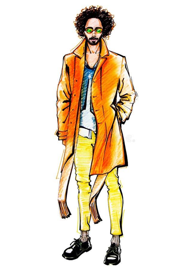 hombre Rizado-cabelludo en una capa y una bufanda brillantes imágenes de archivo libres de regalías