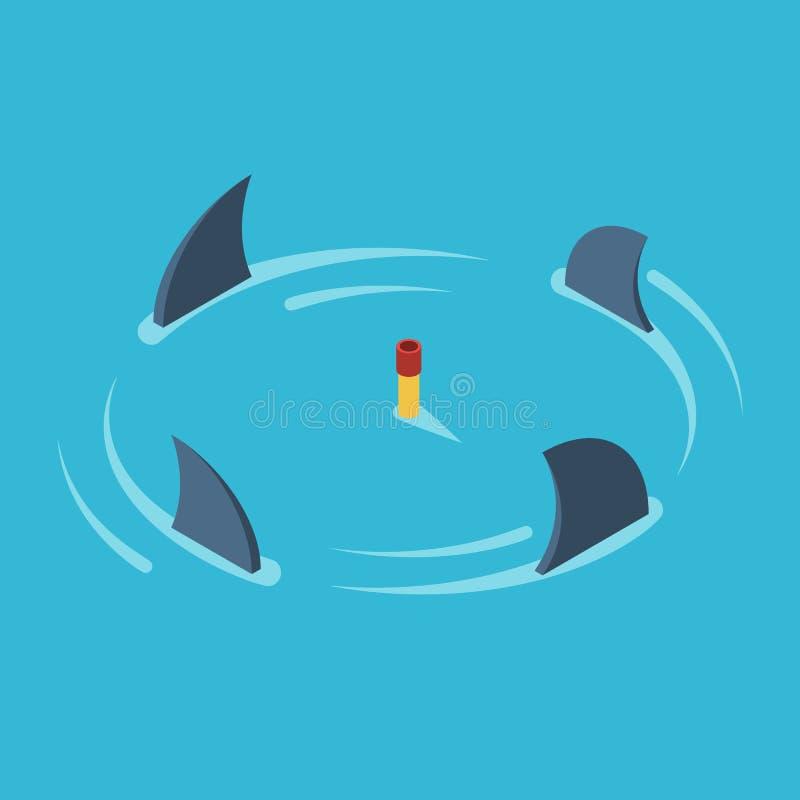 Hombre rodeado por los tiburones ilustración del vector