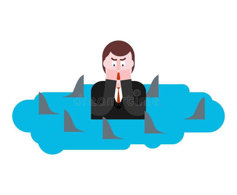 Hombre rodeado por los tiburones Desesperación del hombre de negocios Situación desesperada stock de ilustración