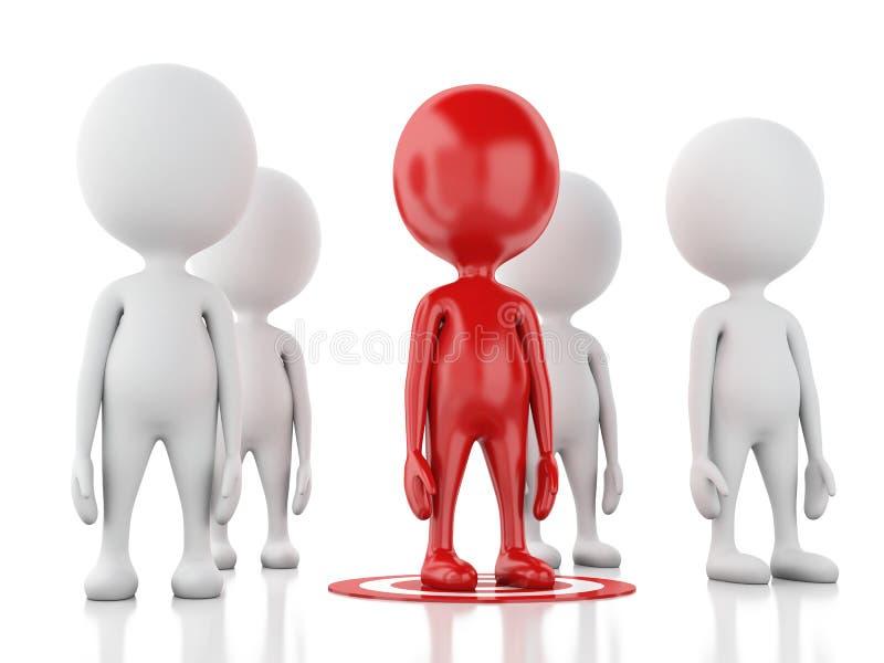 hombre rojo 3d en blanco concepto del éxito de la dirección del negocio stock de ilustración