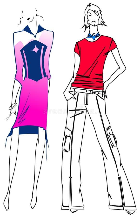 Hombre rojo de la mujer púrpura de la manera. libre illustration