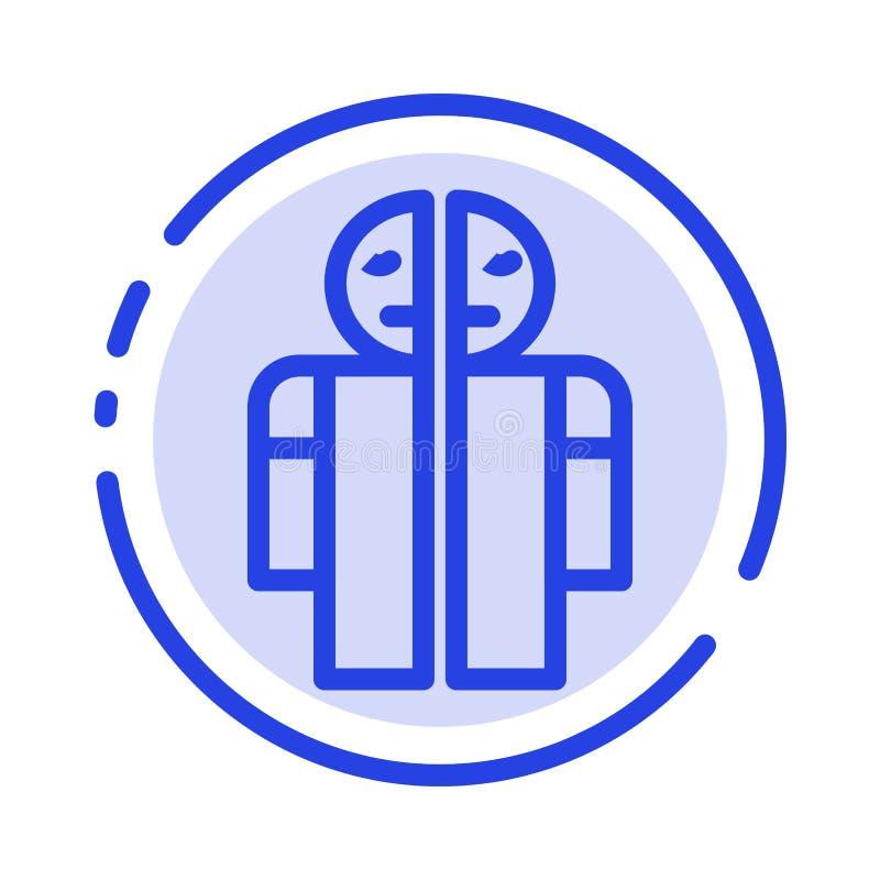 Hombre roto, línea de puntos azul rota, médica, humana línea icono stock de ilustración