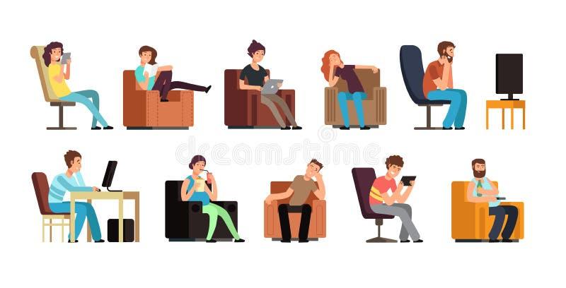 Hombre sedentario y mujer en el sofá que ven TV, teléfono, leyendo Caracteres perezosos del vector de la historieta de la forma d stock de ilustración