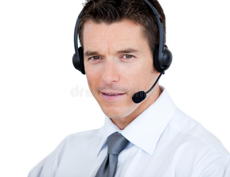 Hombre Self-assured con el receptor de cabeza encendido imágenes de archivo libres de regalías