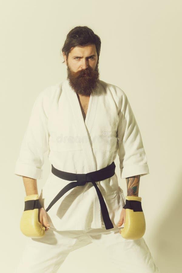 Hombre serio barbudo del karate en guantes del kimono y de boxeo fotos de archivo libres de regalías