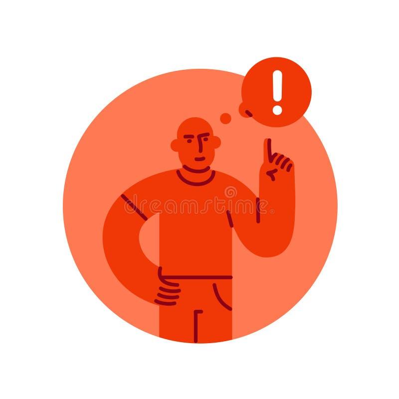 Hombre severo con un finger aumentado para arriba con la marca de exclamación en burbuja del discurso, el concepto de peligro y l libre illustration