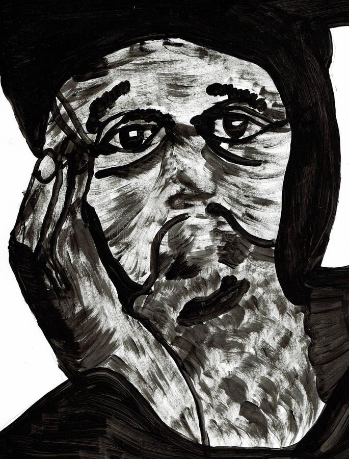 Hombre sin hogar en dolores libre illustration