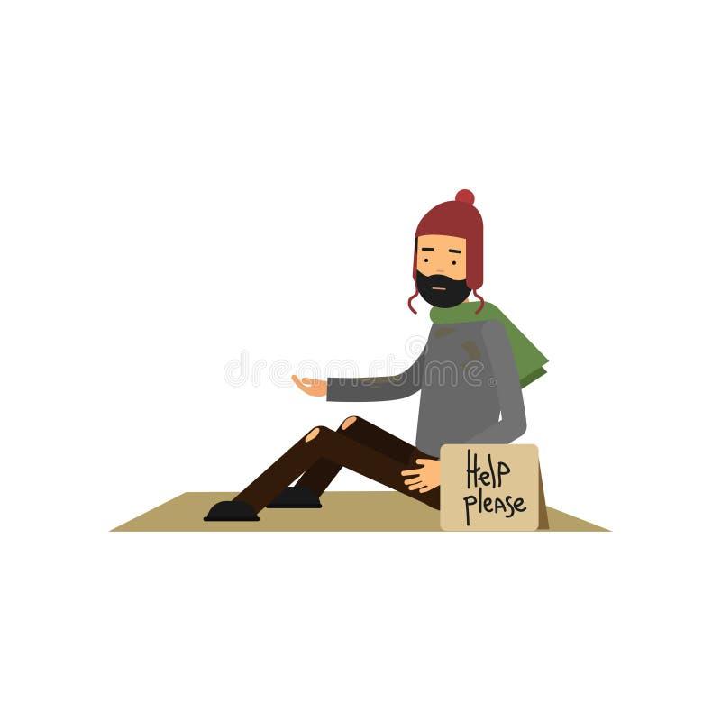 Hombre sin hogar en la ropa desigual que se sienta en la calle que pide la ayuda, hombre del desempleo que necesita para el vecto libre illustration