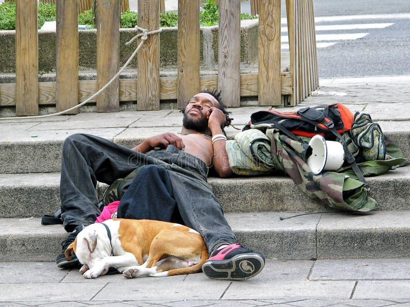 Hombre sin hogar y su perro imagenes de archivo