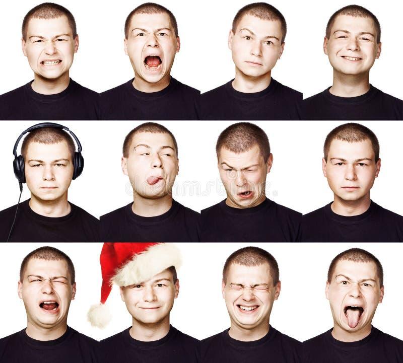 Hombre Sistema de diversas expresiones faciales o emociones imagen de archivo