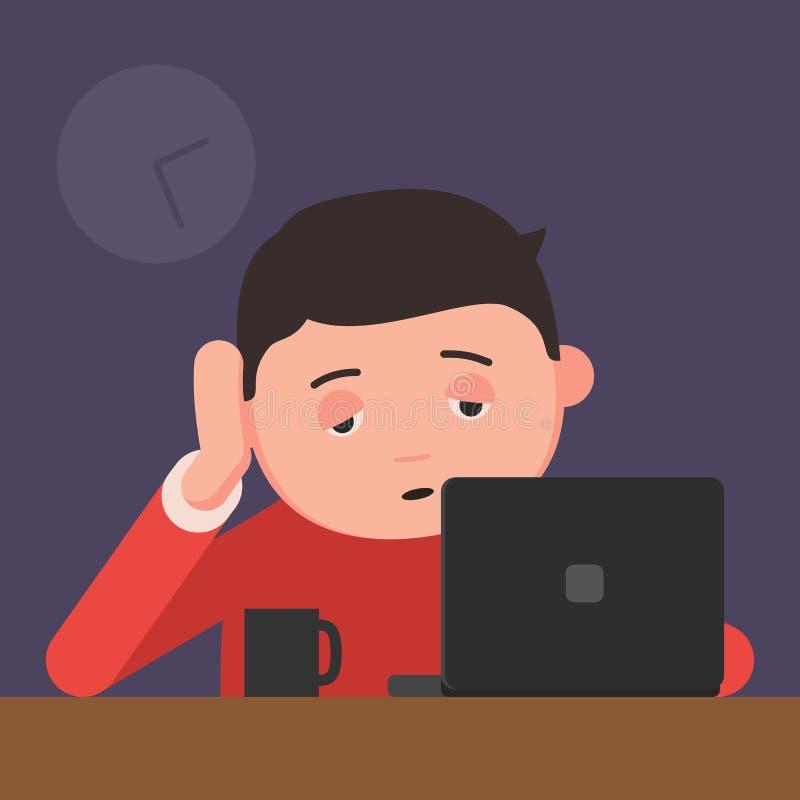 Hombre soñoliento que trabaja en un ordenador portátil stock de ilustración