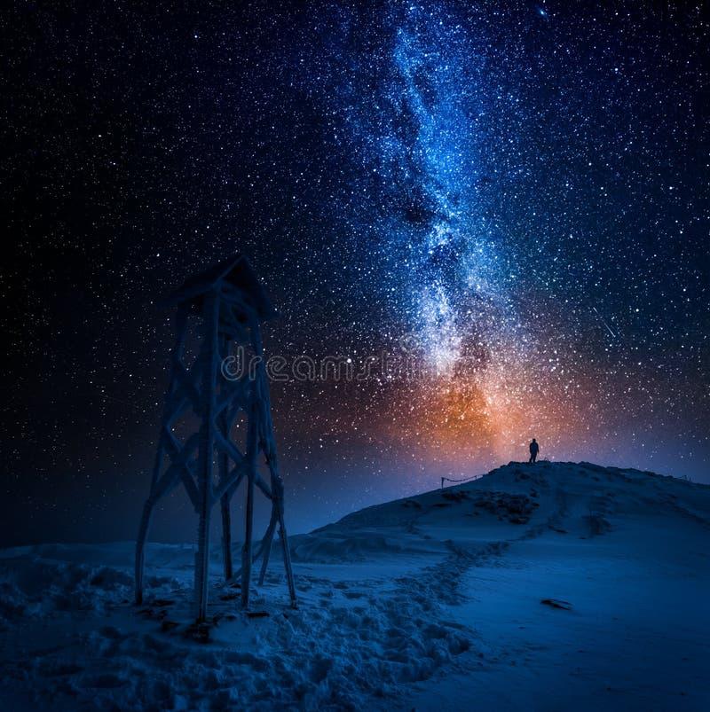 Hombre solitario en el top de la montaña en invierno foto de archivo libre de regalías