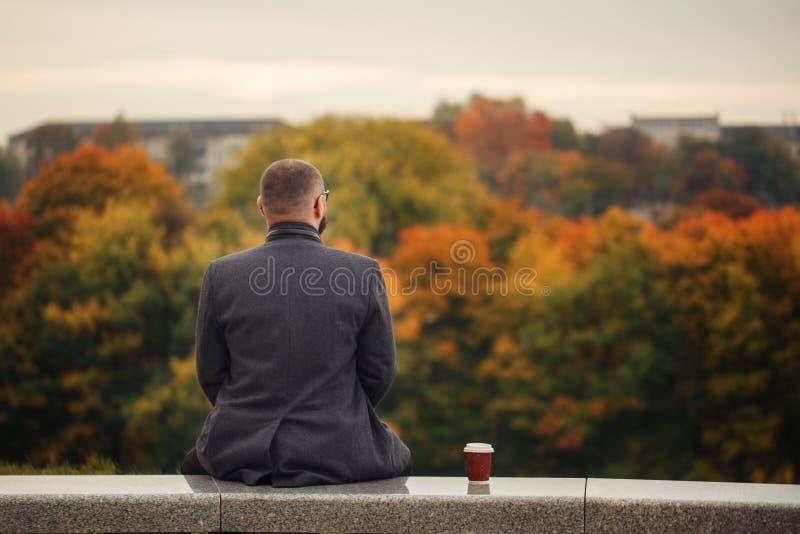 Hombre solitario que se sienta en el banco de piedra y que mira la naturaleza Visión posterior imagenes de archivo