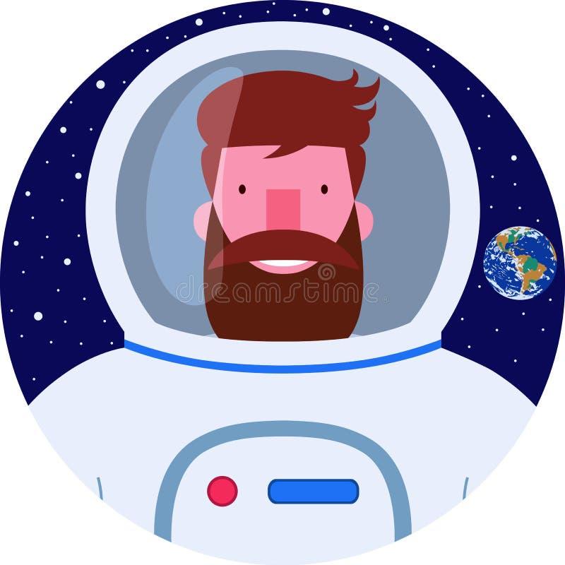 Hombre sonriente barbudo del astronauta del icono en traje de espacio libre illustration