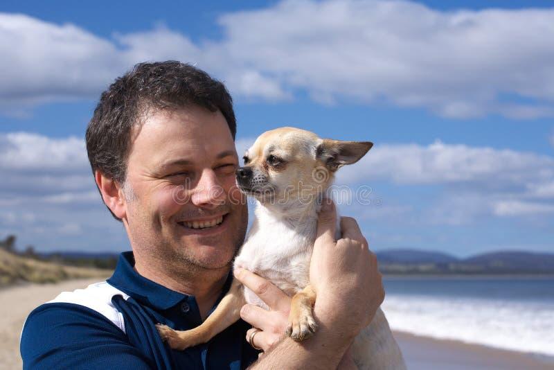 Hombre sonriente con la chihuahua en la playa foto de archivo libre de regalías