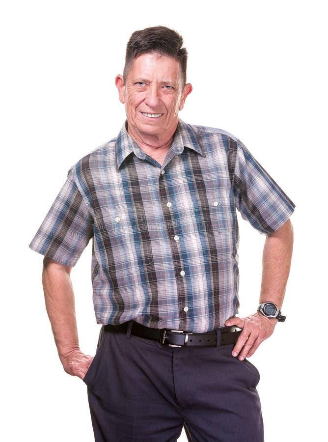 Hombre sonriente del transexual en tela escocesa foto de archivo