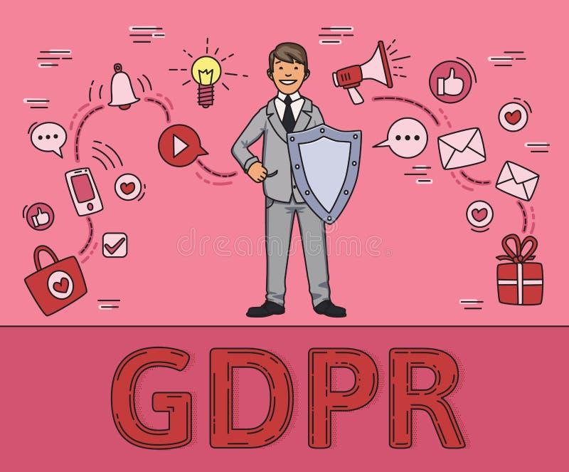 Hombre sonriente en traje de negocios con un escudo entre artículos sociales de los medios y de Internet Datos personales GDPR, R ilustración del vector