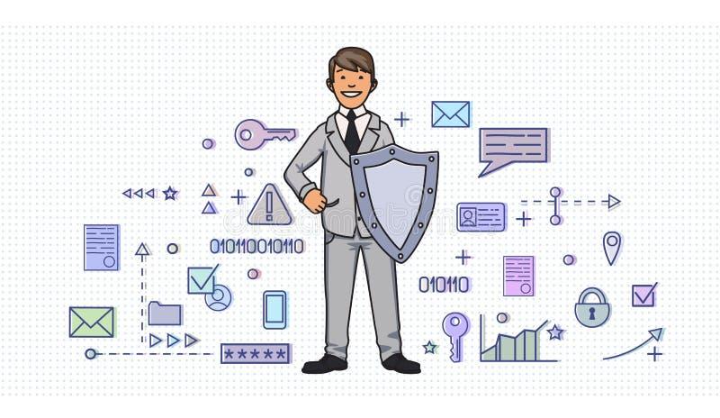 Hombre sonriente en traje de negocios con un escudo entre símbolos digitales y de Internet de la seguridad Protección de datos pe libre illustration