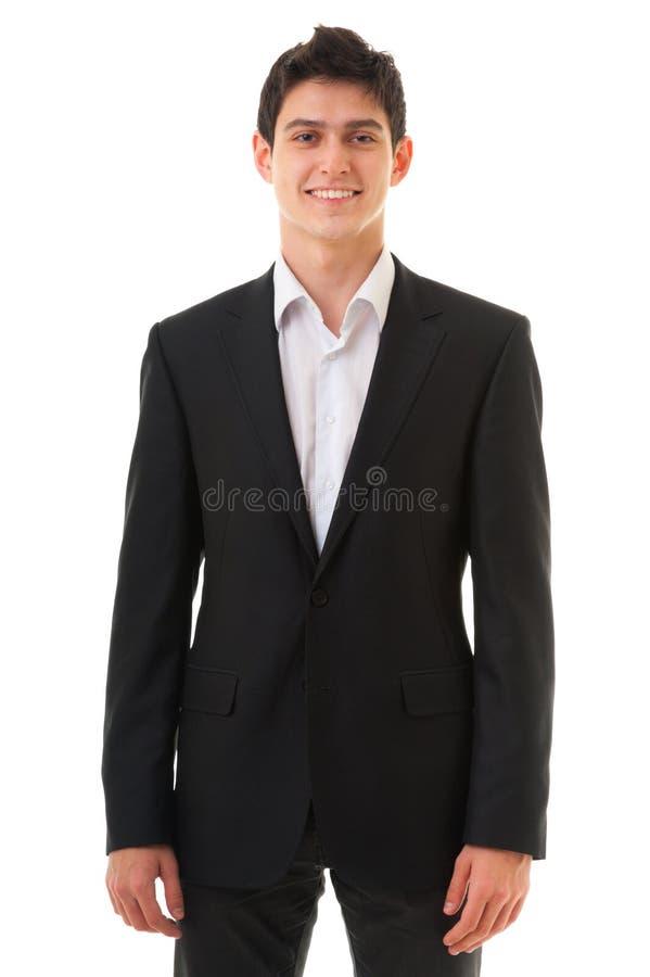 Hombre sonriente joven de la persona del negocio aislado en el fondo blanco imágenes de archivo libres de regalías