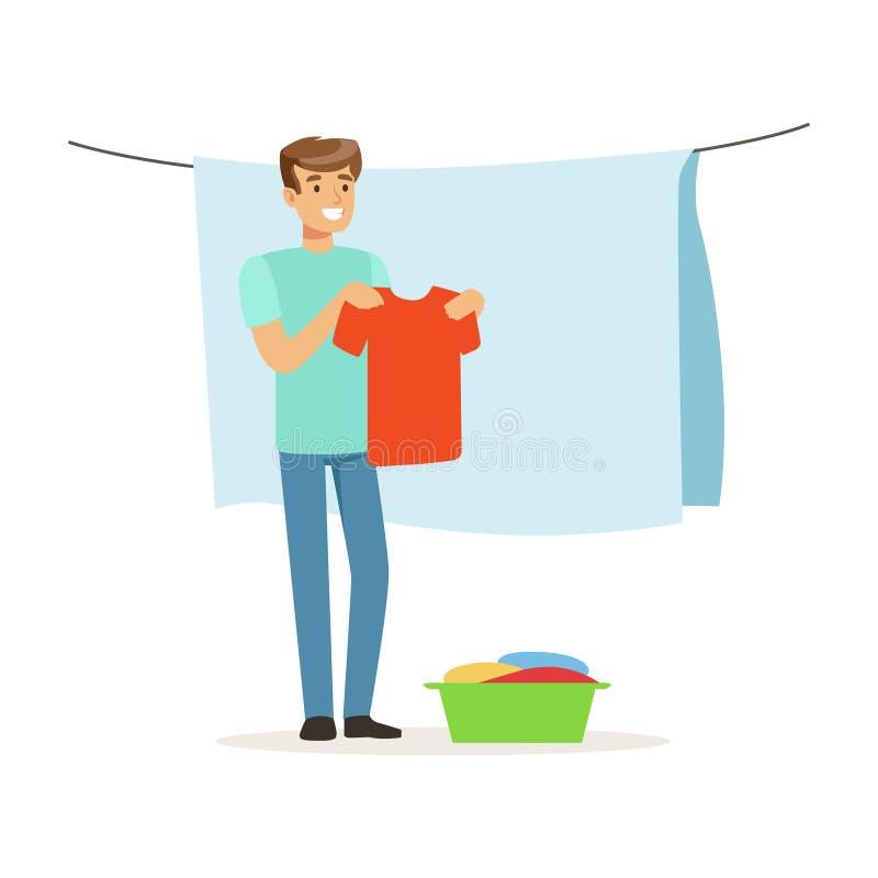 Hombre sonriente joven que cuelga la ropa mojada hacia fuera para secarse, marido de casa que trabaja en casa el ejemplo del vect stock de ilustración
