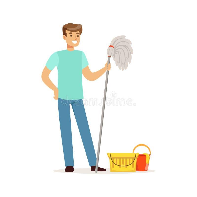Hombre sonriente joven que limpia el piso con una fregona y un cubo de agua, marido de casa que trabaja en casa el ejemplo del ve ilustración del vector