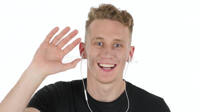Hombre sonriente, un cierre más bajo de la cara para arriba imagen de archivo