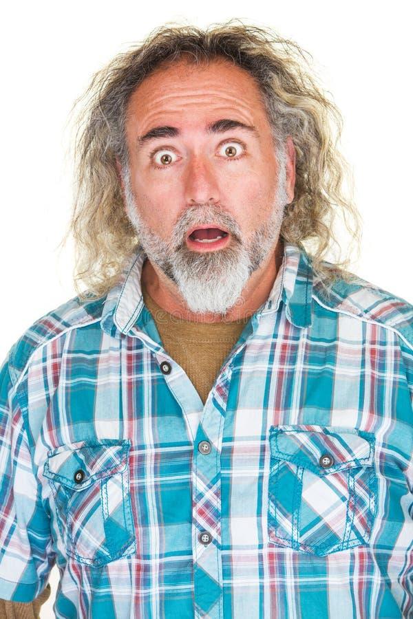 Hombre sorprendido con la barba fotos de archivo libres de regalías