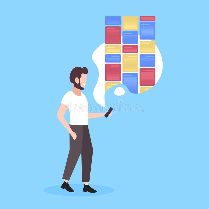 Hombre sostiene smartphone con notas aplicación móvil digital creativa organizador de recordatorio concepto de plano de longitud  stock de ilustración