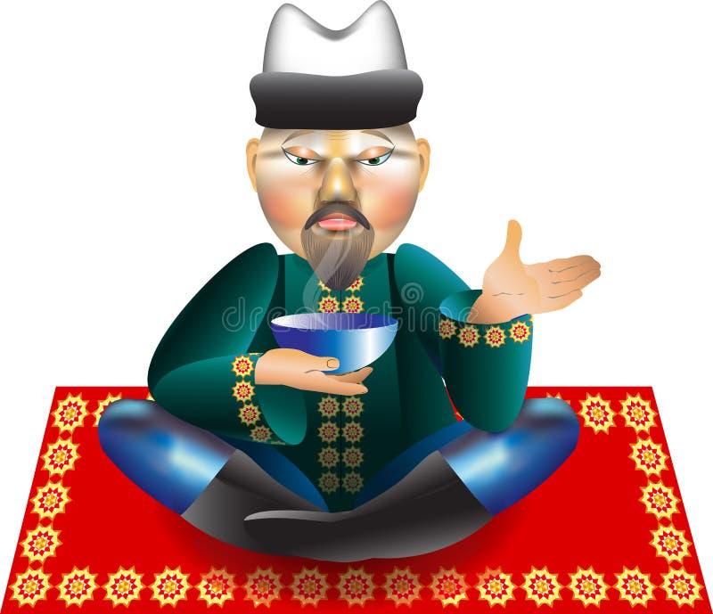Hombre, té del bebedor ilustración del vector