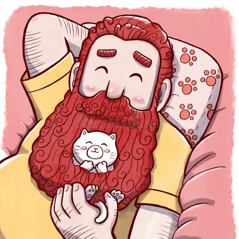Hombre tímido con Cat Hiding en su barba libre illustration