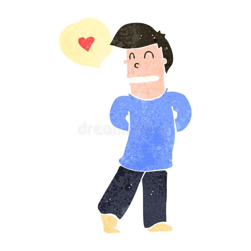 hombre tímido de la historieta retra en amor ilustración del vector
