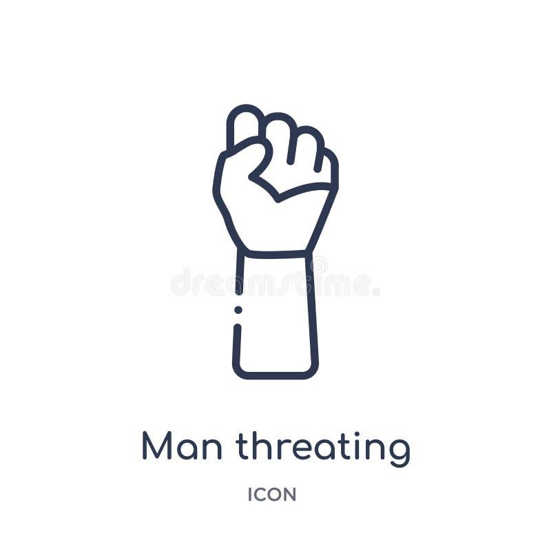 hombre threating con su icono del puño de la colección del esquema de los deportes Juez de línea fino threating con su icono del  stock de ilustración