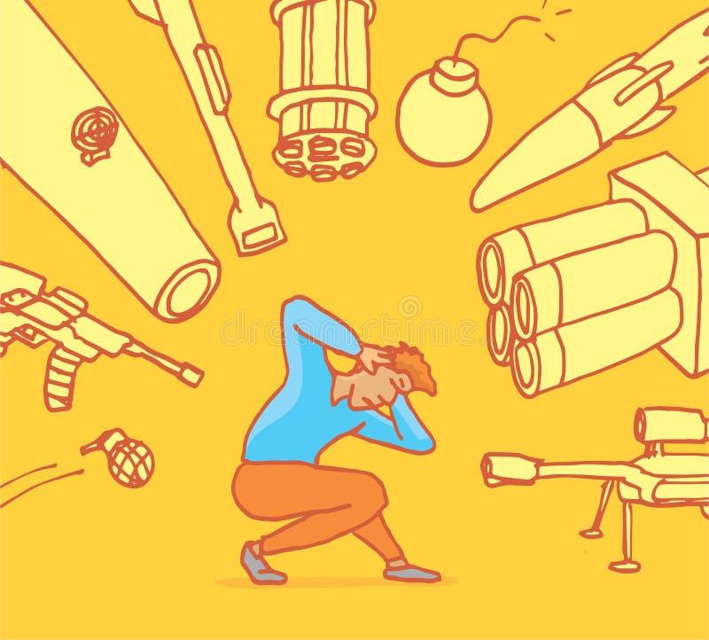 Hombre trastornado de violencia y de los armas ilustración del vector