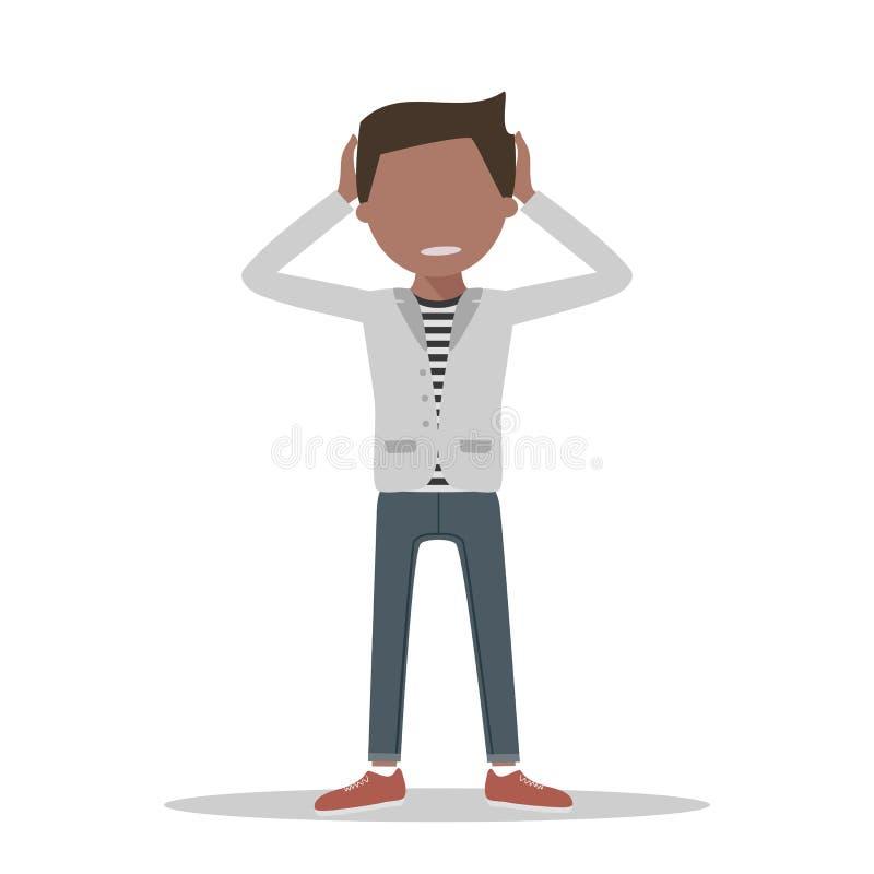 Hombre triste con dolor de cabeza stock de ilustración