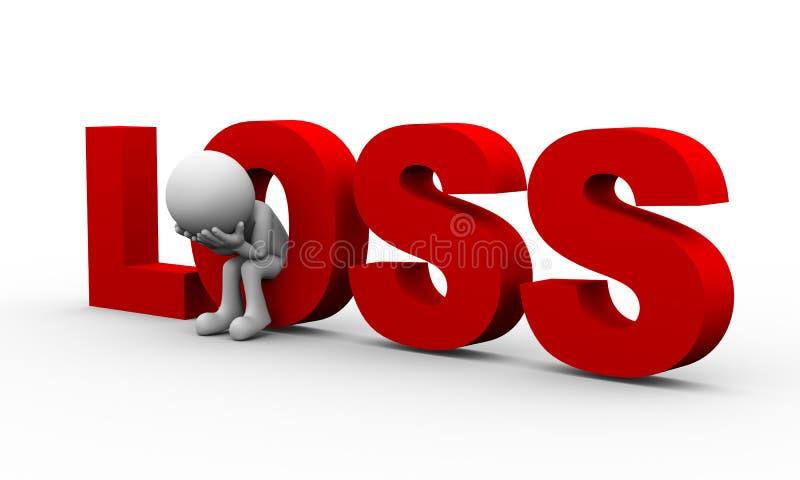 hombre triste 3d y pérdida de la palabra stock de ilustración