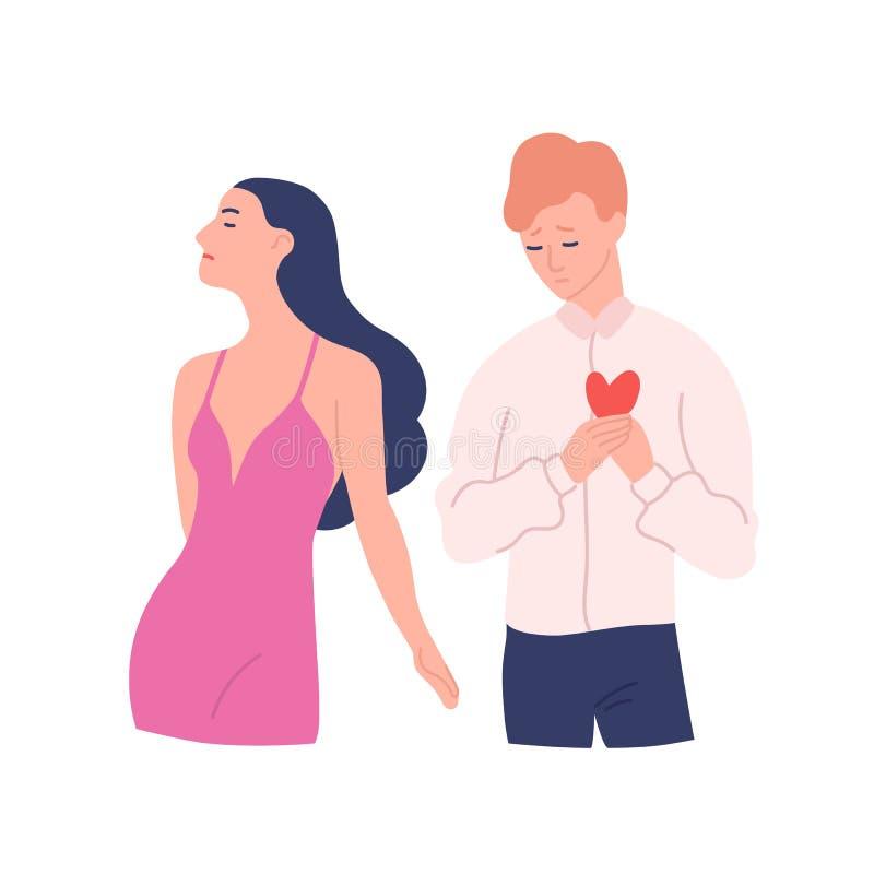 Hombre triste que intenta presentar su corazón a la mujer que rechaza su regalo Amor no recompensado, unilateral o rechazado Varó ilustración del vector