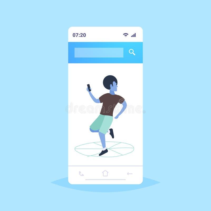 Hombre usando la situación del individuo del teléfono móvil en la aplicación móvil del nline de la pantalla del smartphone de la  ilustración del vector