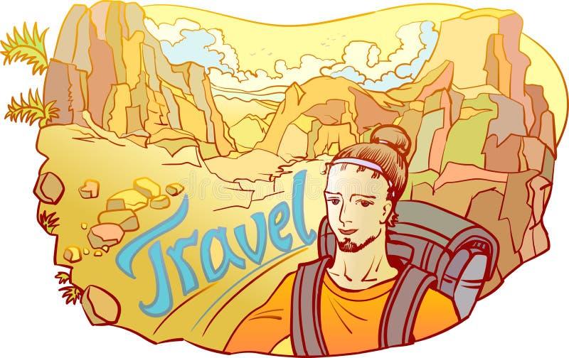 Hombre - viajero en el desierto rocoso ilustración del vector