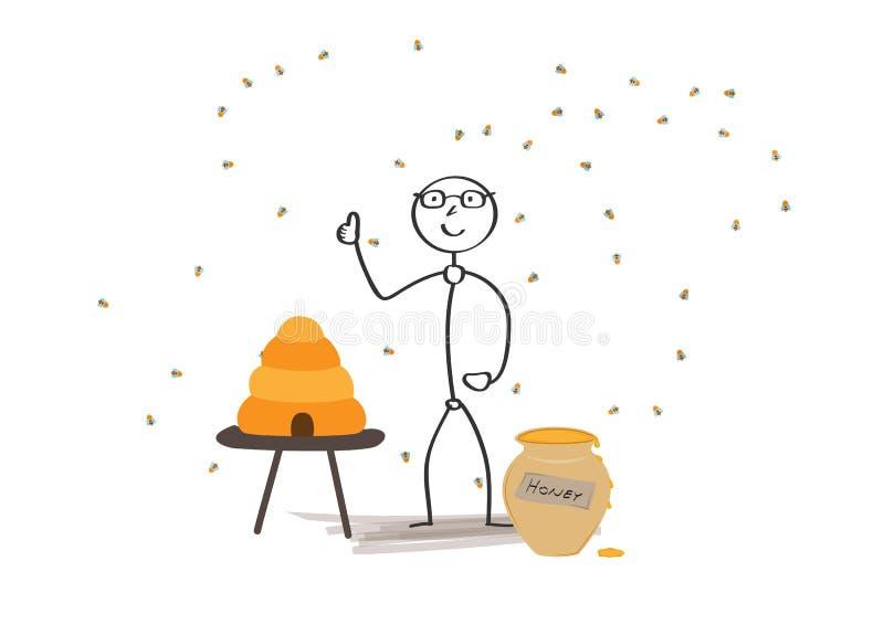 Hombre y abejas libre illustration