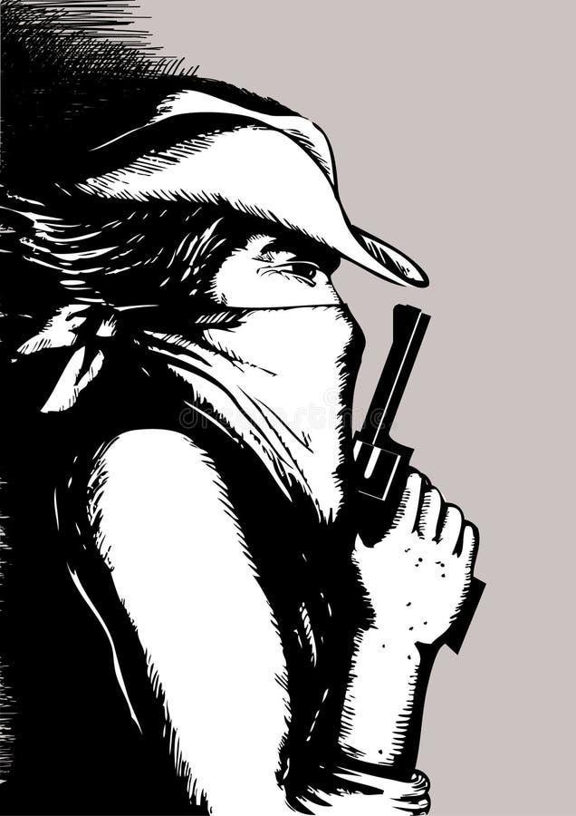Hombre y arma ilustración del vector