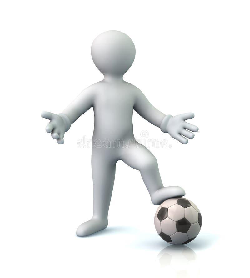 Hombre y balón de fútbol stock de ilustración