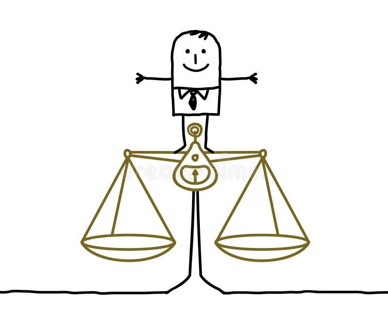Hombre y balance, justicia ilustración del vector