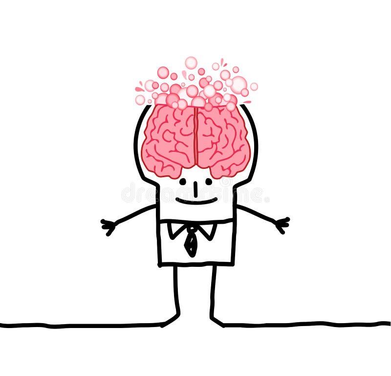 Hombre y burbujas grandes del cerebro ilustración del vector