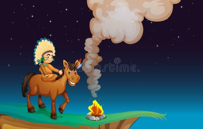 Hombre y caballo stock de ilustración