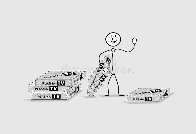 Hombre y cajas con la televisión del plasma stock de ilustración