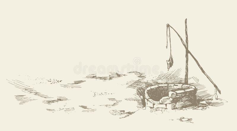 Hombre y camellos en marchitado bien en desierto Gr?fico del vector stock de ilustración