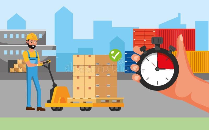 Hombre y carretillas de entrega con las cajas y los envases libre illustration