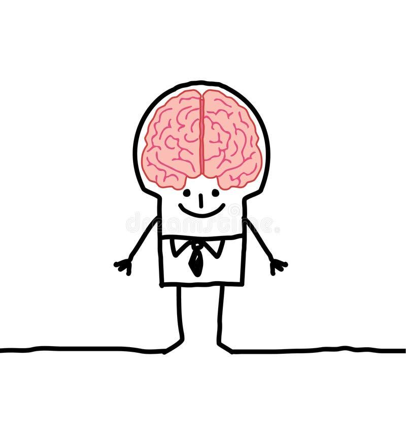 Hombre y cerebro stock de ilustración