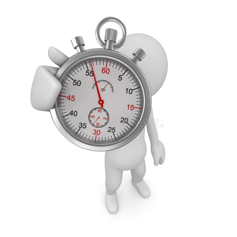 Hombre y cronómetro stock de ilustración